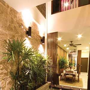 现代简约白色别墅背景墙客厅