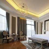 现代风格公寓卧室蓝色树形背景印花效果图大全