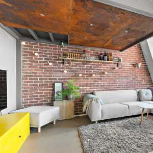 时尚公寓背景墙客厅工业