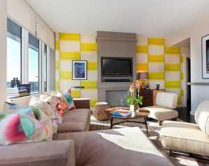 龍田名郡小區107個平方客廳設計電視墻裝修效果圖