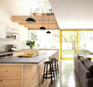 厨房吧台现代简约复式客厅