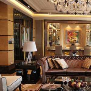 电视柜休闲沙发实木茶几装饰画混搭客厅吊灯真皮沙发多元素搭配客厅设计装修图片效果图大全