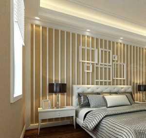 米白色装修现代三居卧室130平米三室两厅两卫装修效果