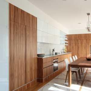 厨房现代简约原木色白色别墅餐厅