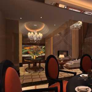 天鹅湖别墅的大气中式餐厅效果图
