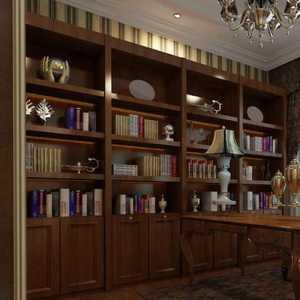 书桌书房实木家具书架装修效果图
