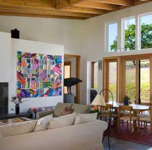 80平米美式風格三居室花磚壁爐設計裝修效果圖